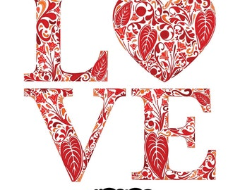 LOVE - Digital Image Download Sheet Transfer to Fabric / Pillows / Burlap / Vintage Digital Clip Art by Nahhan73 (CPG-006)