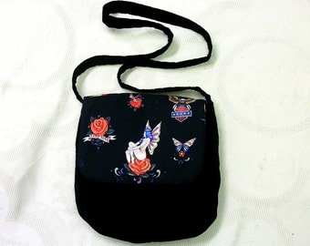 Black velvet purse shoulder bag tattoo  Pin-up  Alexander Henry fabric day evening womens clothing accessories biker burlesque sailor jerry