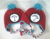Adult Sized Dr. Suess Thing 1 & Thing 2 Inspired Hats with Ear Flaps - Set of 2! Great for couples or adult twins!
