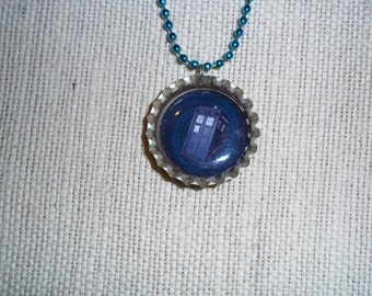 Dr. Who Bottle Cap Necklace Tardis