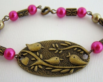 Bracelet, Beaded, Birds on a Branch, Pink, Copper, Antique Bronze, Woodland, Sparrow, For Her
