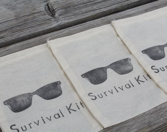 Set of 10 Shades Sunglasses Survival Kit Hangover Kit Muslin Drawstring Bags