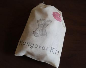 Set of 10 Bachelorette Girls Night Out Hangover Kit Muslin Drawstring Bags