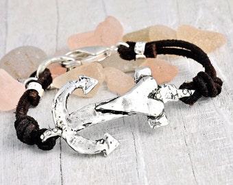 Anchor Your Soul Bracelet - Nautical Jewelry - Leather Bracelet - Anchor Jewelry - B380