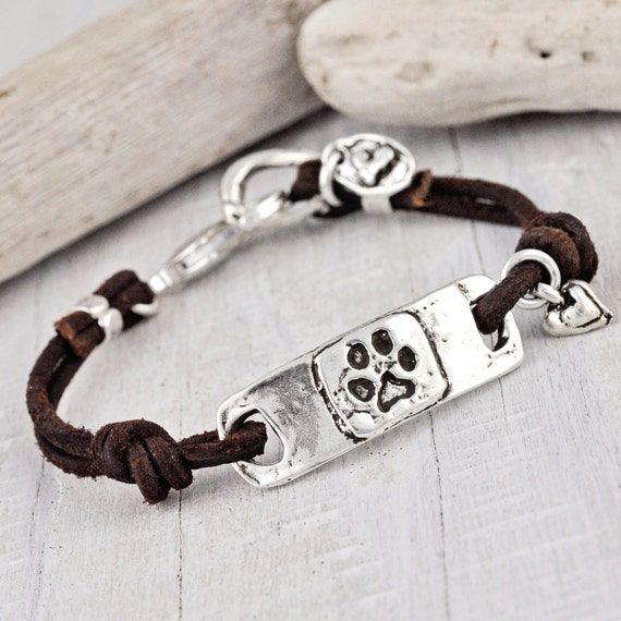 Dog Paw Bracelet Puppy Paw Jewelry I Love my Dawg Bracelet
