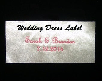 Wedding Label Dress Tag Monogrammed with Name Date