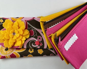 Cash Envelope Wallet, Cash Envelope System -Bright Floral (It can be used with the Dave Ramsey system)
