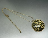 "Leopard Print Pendant Necklace 2"" Disk on Gold Rolled Chain"