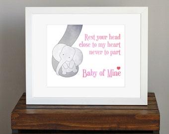 Baby Girl Pink Nursery Art Print - Disney - Baby Mine, Dumbo lyrics - baby elephant, baby shower gift, new mom gift, girly room - 8 x 10