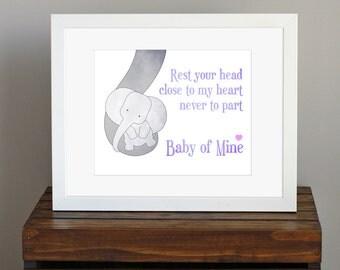 Disney Nursery Art Print - purple and gray children's decor - Baby Mine, Dumbo lyrics - baby elephant, mom-to-be, baby shower gift - 8 x 10