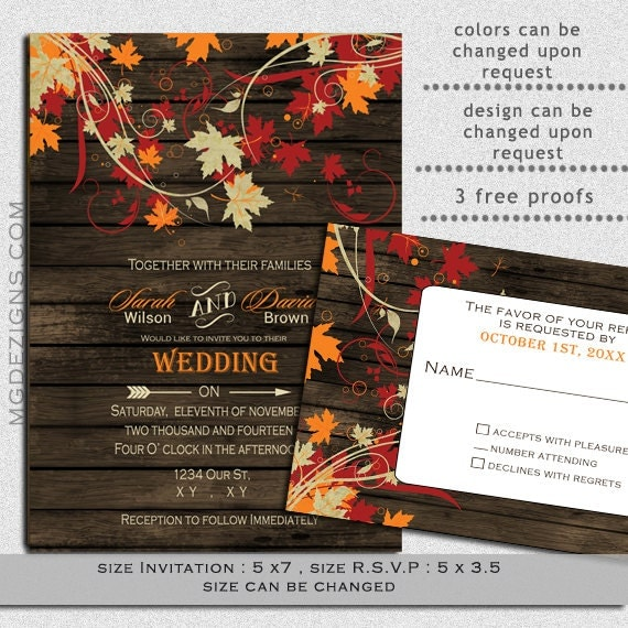 printable wedding invitation template fall wedding by