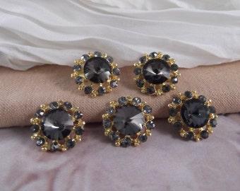 5 Round Black Diamond Rhinestone Small Brooch ~~~ Gold Tone ~~~ BROO6~5GBD
