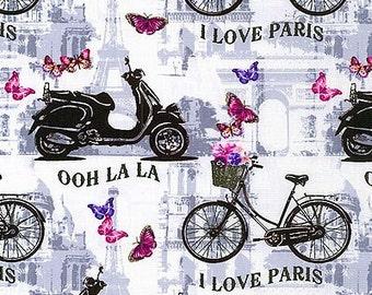 Benartex Fabric - Papillon - Ooh La La - White - Choose Your Cut 1/2 or Full Yard