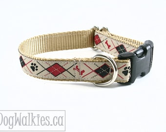 "Sandy Argyle Bone and Paw // 3/4"" (19mm) wide // Tan Argyle Dog Collar // Choice of style and size // Martingale or Quick Side Release"