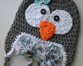 penguin hat, girls penguin hat, crochet penguin hat, crochet kids hat, crochet baby hat
