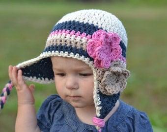baby girl hat, girls hat, kids hat, toddler hat, earflap hat, little girls hat, navy blue hat