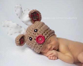 Christmas hat, baby hat, newborn hat, reindeer hat, crochet reindeer hat, rudolph hat, newborn Christmas hat