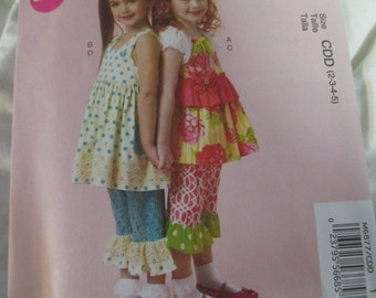 McCalls 6877 Girls Tops and Pants Sizes 2-5