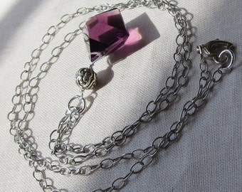 AAA Plum Quartz 15mm Faceted Square Briolette Necklace with Sterling Silver