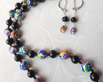 Murano Glass Millefiori and Black Onyx 22 Inch Necklace and Earring Set