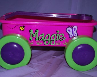 Girls Short Toy Wagon Cart - Personalized and Hand Painted