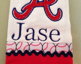 Atlanta Braves Boutique Burp cloth with personalization