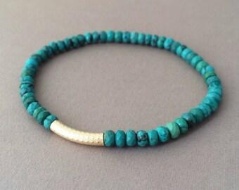 Gold Bar Turquoise Stone Layer Beaded Bracelet