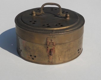 Vintage Brass Trinket Box Made in India Brass Cricket Box Home Decor