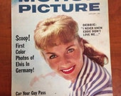 January 1959 Motion Picture Magazine Elvis in Germany Hollywood Magazine Debbie Reynolds Cover Liz Taylor 1959 Movies