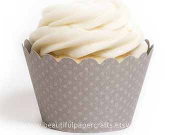 Grey Cupcake Wrappers, Baby showers, 1st Birthdays ...set of 12