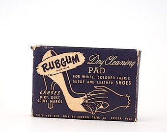 Vintage RubGum Cleaning Pads -  Dry Cleaning Pad For Fabric, Suede, Leather, Back to School Gift For Teacher, For Mid Century Housewife,