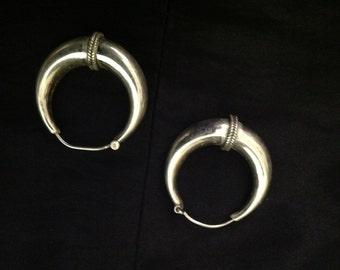 SALE Tribal Sterling Silver Hoop Earrings