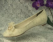 Wedding Ivory Lace shoes almost flat heel with handmade lace adornment and Crystals brooch, Victorian Retro feel, low heel, comfortable