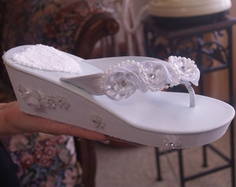 Beach Wedding Sandals, Dressy Beach Sandals,flip Flop and Thongs, Platform Thongs, Cruise Wear, Vacation, Honeymoon