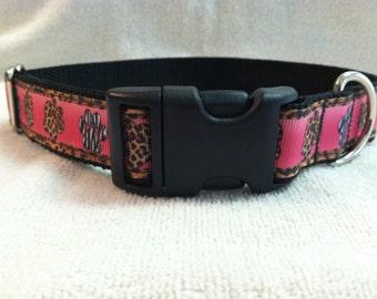 Pink Paw Prints Leopard Custom Dog Collar