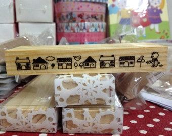 A Piece oof Zakka Wooden Stamp - House and Bear