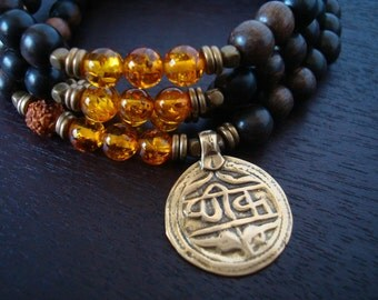 Men's Baltic Amber Mala Necklace or Wrap Bracelet // Good Health Mantra Coin // Yoga, Buddhist, Meditation, Prayer Beads, Jewelry