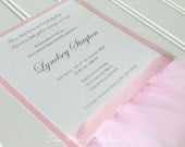 CUSTOM LISTING - Jenna - 30 - Handmade Pink Ballet Baby Shower Invitation with Tutu