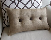 lumbar style 11x19 Burlap Pillow with chocolate brown organic cotton duck buttons
