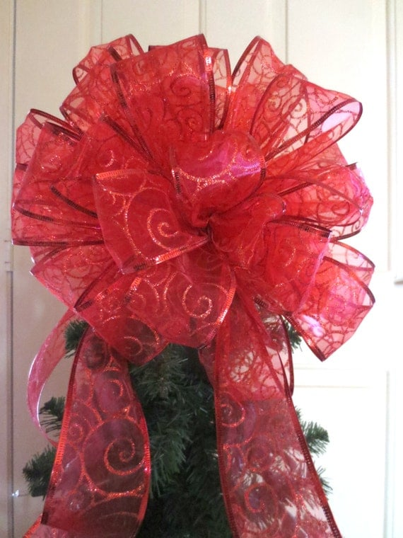 Red Christmas Bow Tree Topper Bow Wreath By