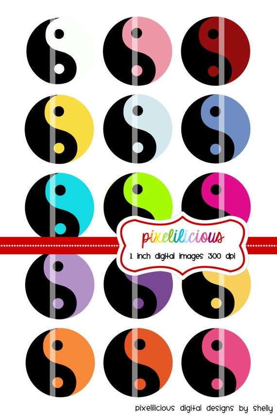 Bottle Cap Image Sheet - Instant Download - Yin and Yang -  1 Inch Digital Collage - Buy 2 Get 1 Free