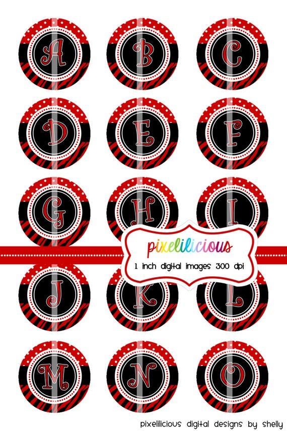 Bottle Cap Image Sheet - Instant Download - Rockin' Red Alpha -  1 Inch Digital Collage - Buy 2 Get 1 Free