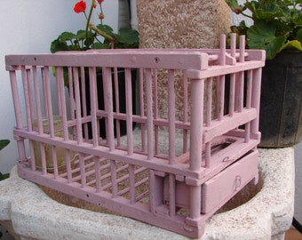 shabby pink, antique French, wood & wire bird cage, canary finch trap with original water jar and feeder