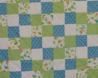 Caterpillars on a Patchwork Flannel and Chenille Baby Quilt.  Designer Fabric. So soft, Beautiful Colors,  Blue, Green, and White