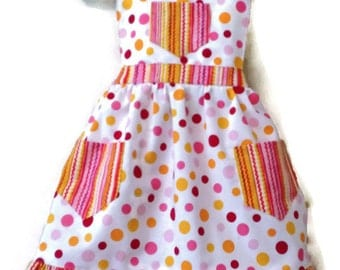 Polka Dot Apron, Children's Apron, Toddler apron, Girl Apron, Baking Apron, Cooking Apron, Kids Apron, Little Girls Apron, Retro Style Apron