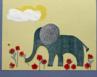 Elephant and Red Poppies, Original mixed media art, children's art, whimsical, grey, red and yellow, paper collage, cloud, flowers