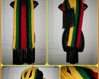 The Kiy'Bu Scarf in red, black, green, & gold - Crochet scarf with fringe - Made To Order