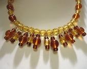 Brown and Beige Glass Dangle Necklace by JulieDeeleyJewellery on Etsy Ladies Modern Jewellery