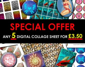 SPECIAL OFFER - Choose Any 5 Digital Collage Sheet For Only 3.50 GBP - Limited time Sale offer