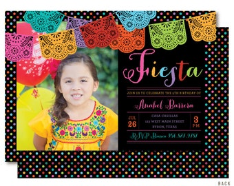 Fiesta Photo Birthday Invitations, Mexican Papel Picado Invitation, Printable or Printed
